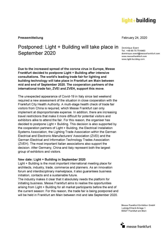 延期通知:2020法兰克福照明+建筑展将延期至9月举行